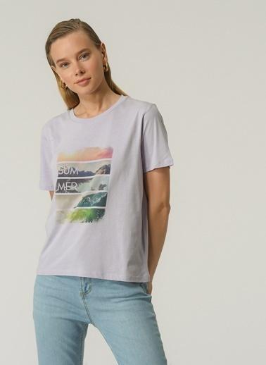 People By Fabrika Kadın Baskılı  Tişört PFKSS21TS0109 Lila